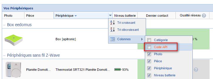 Afficher les codes API dans la liste des périphériques
