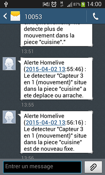 HomeLive SMS d'alerte situation anormale