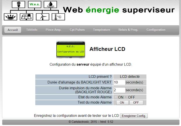 Configuration WEB de l'écran LCD du WES