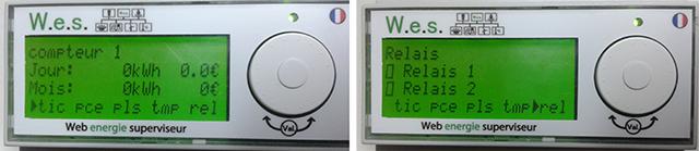 WES LCD : deux éléments de sous-menu