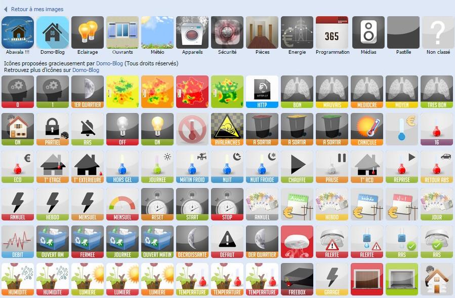 Icones utilisateurs classées par catégories