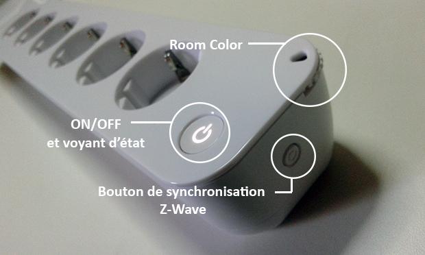 Voyants et boutons de la prise PowerNode