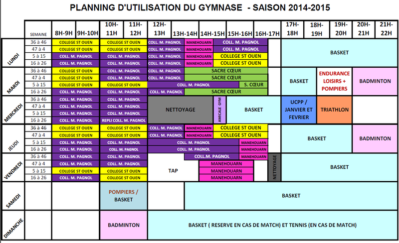 planning Gymnase