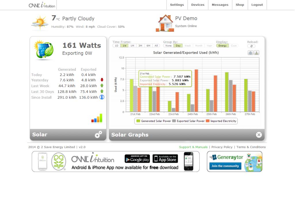Capture d'écran Intuition photovoltaïque