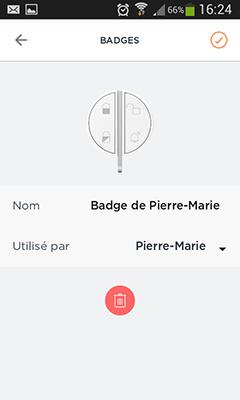 Badge Home Alarm : choix de l'utilisateur