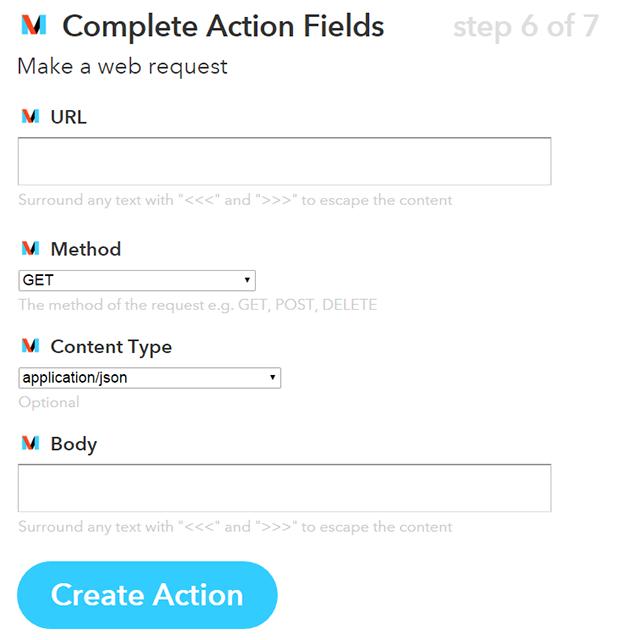 """Exemple d'action dans le channel """"Maker"""" de IFTTT"""