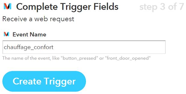 IFTTT Maker - début d'une recette avec un trigger