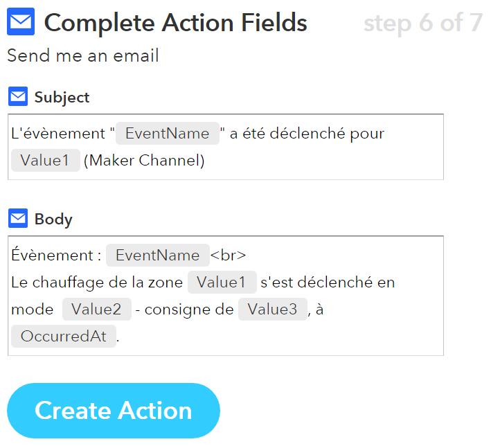 IFTTT Maker Channel : e-mail avec 3 valeurs