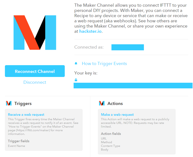 """Présentation du canal """"Maker"""" de IFTTT"""
