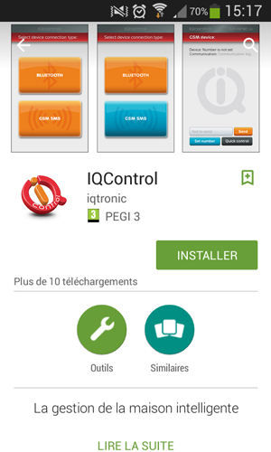Application mobile IQcontrol sur le Play Store