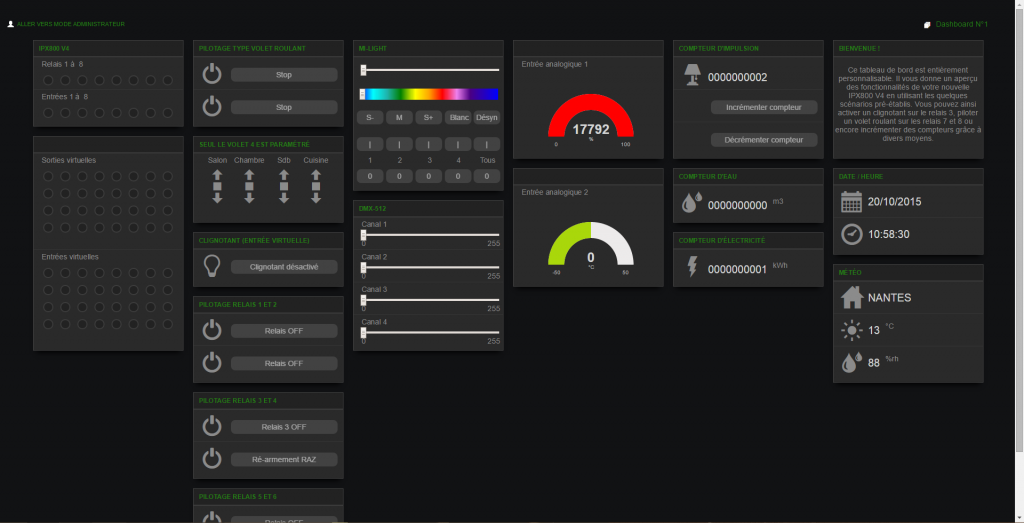 Arrivée sur l'interface par défaut de l'IPX 800 v4
