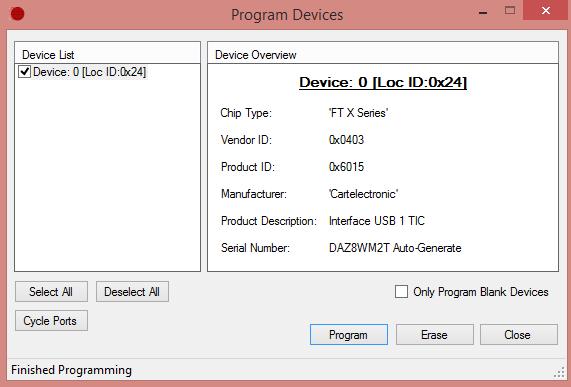 Fenêtre de programmation firmware module téléinformation