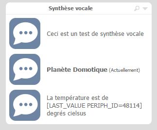 Synthèse vocale sur l'eedomus