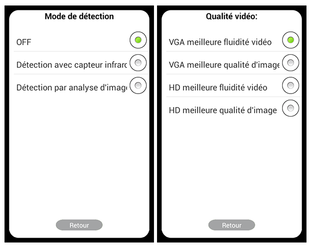 Application Wisidom : optios proposées