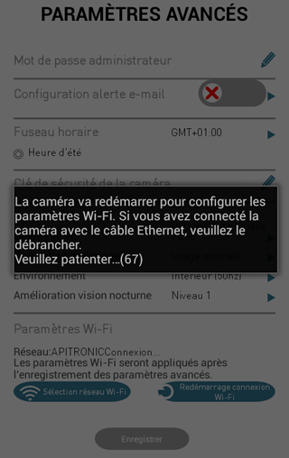 Caméra Visidom : connexion au WiFi en cours