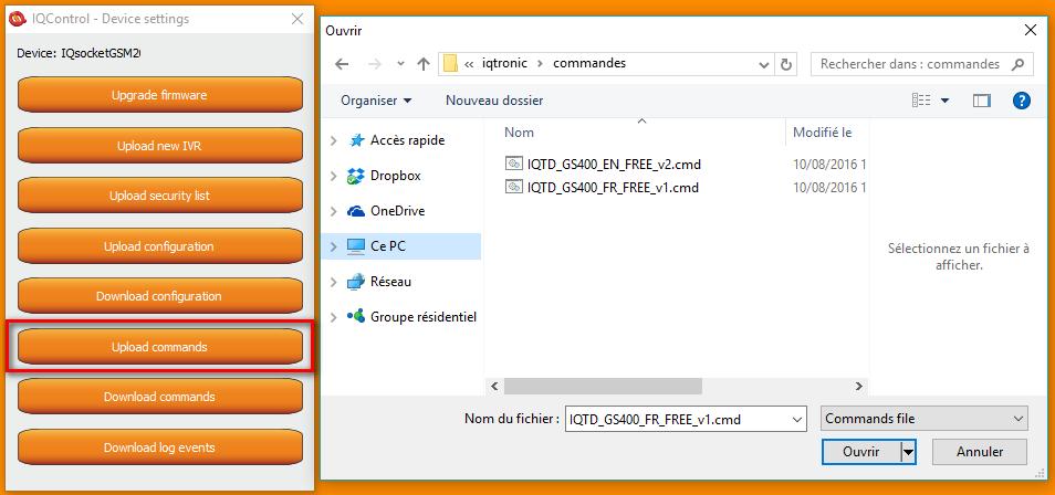 IQtronic par PC et Bluetooth : envoi de fichier de commandes