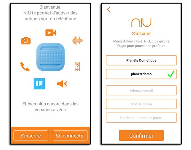 Application du bouton NIU de Nodon : Création d'un compte