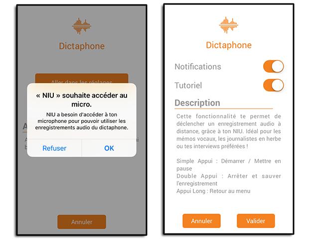 Application du bouton NIU de Nodon : Dictaphone