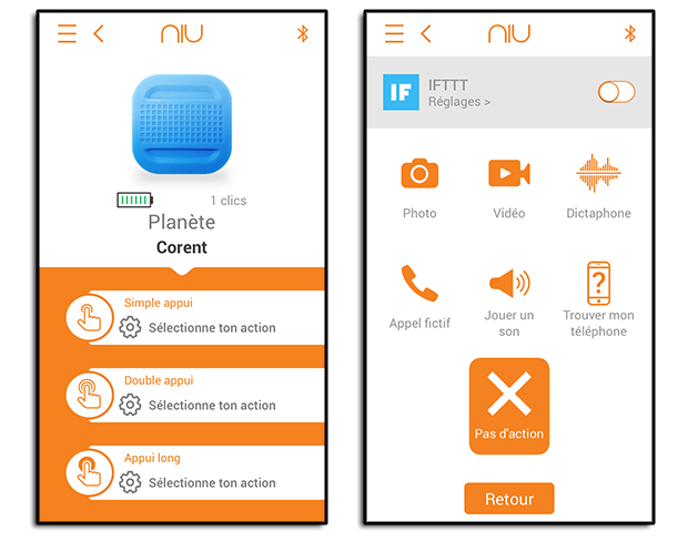 Application du bouton NIU de Nodon : choix des actions