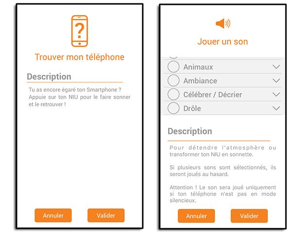Application du bouton NIU de Nodon : Retrouver son téléphone et banque de son