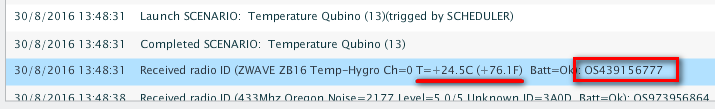 Température de module Qubino : ligne obtenue dans la Zibase