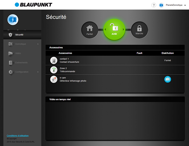 Interface web de gestion Blaupunkt Q3200