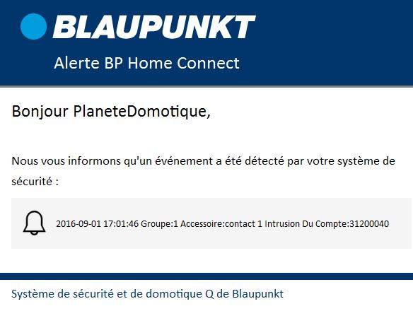 Blaupunkt Q3200 - Alerte email contenu