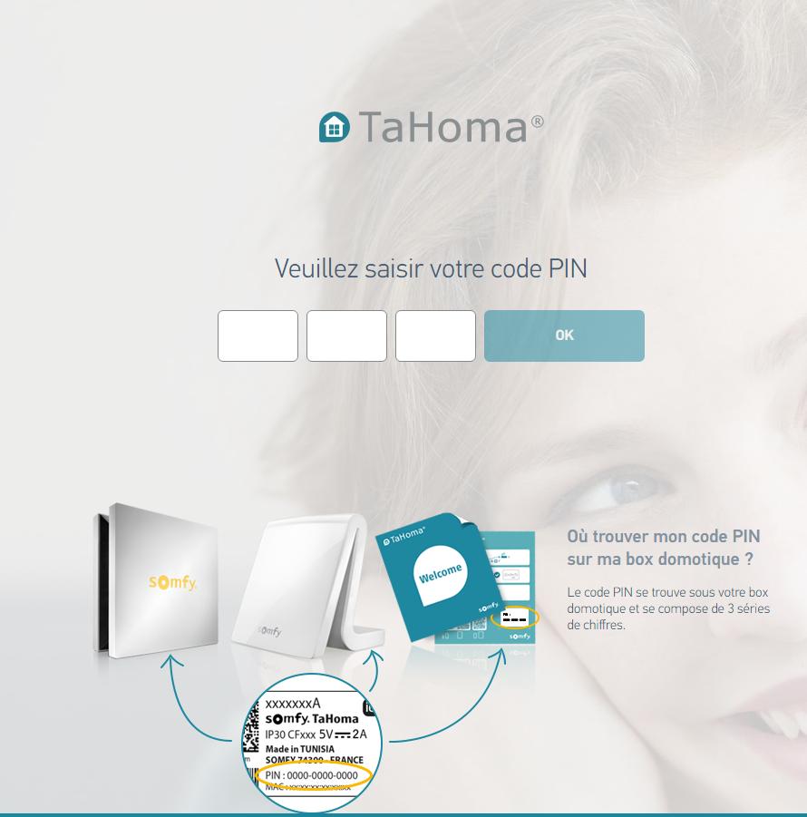 Activation de TaHoma Serenity : saisie du code PIN