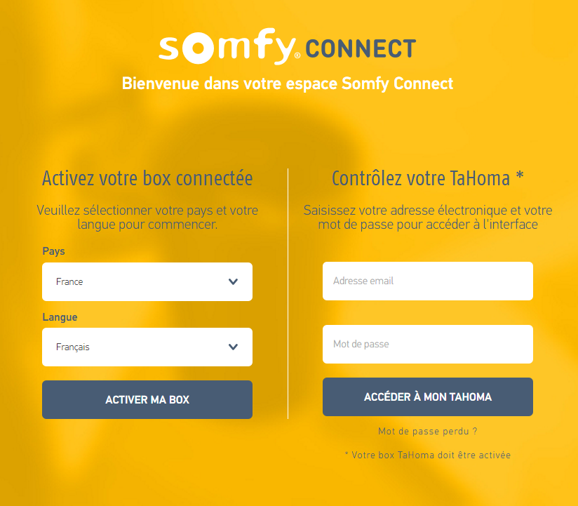 TaHoma Serenity : activation Somfy Connect
