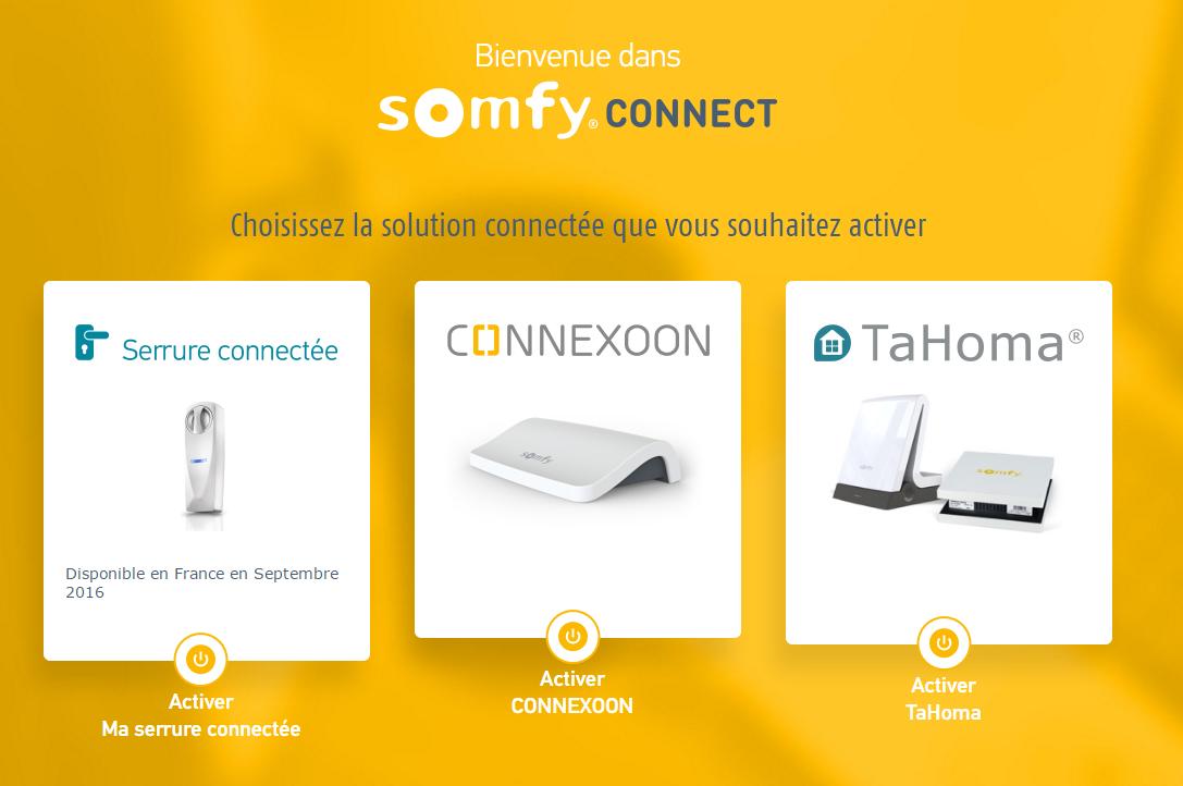TaHoma Serenity : choix de la box à activer sur Somfy Connect