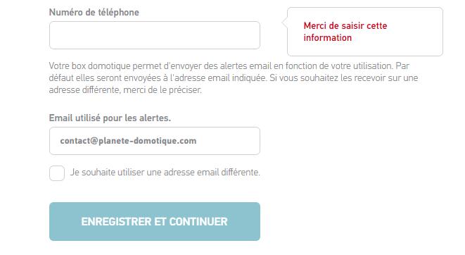 TaHoma Serenity : Choix d'un e-mail alternatif pour l'envoi des alertes.