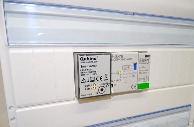 SmartMeter et modules rail DIN dans un tableau électrique