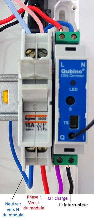 Branchement du Variateur Z-Wave rail DIN de Qubino (photo)