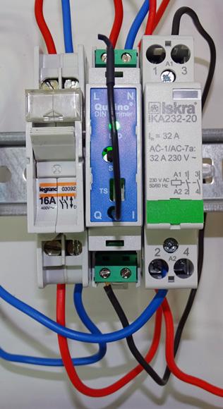 Branchement d'un variateur rail DIN de Qubino avec un contacteur