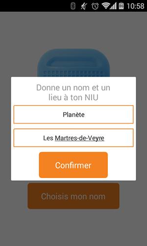 NIU sur Android : choix du nom et du lieu