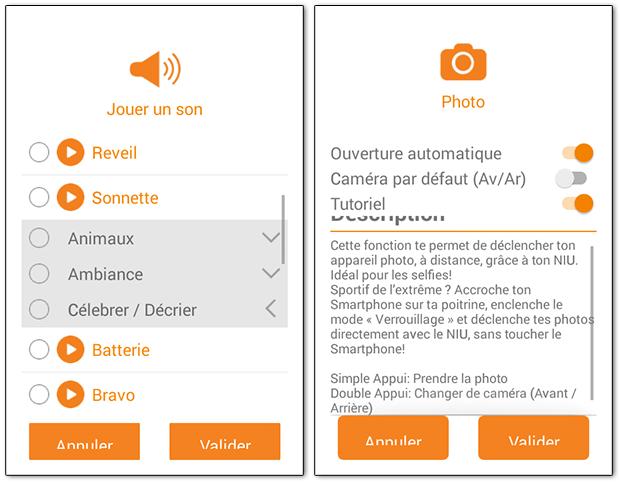 NIU sur Android : exemple de fonctions