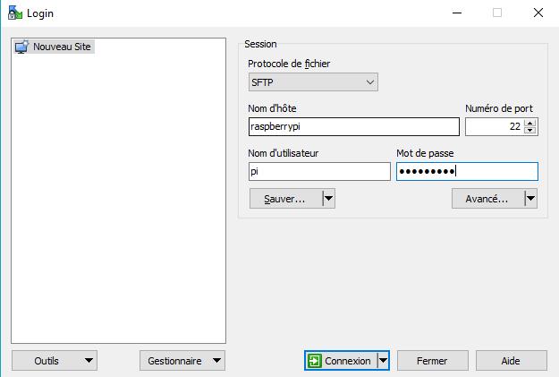 WinSCP : saisie identifiants de connexion