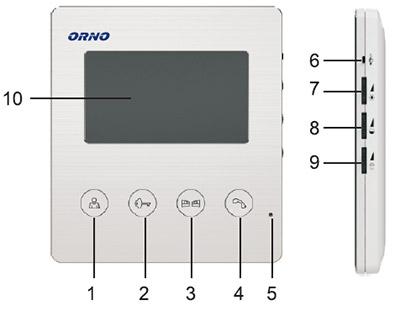 Déballage et présentation du portier vidéophone Orno : chiffres de légende sur l'écran