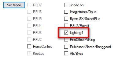 Choix d'un protocole sur le RFXcom : Lightning 4
