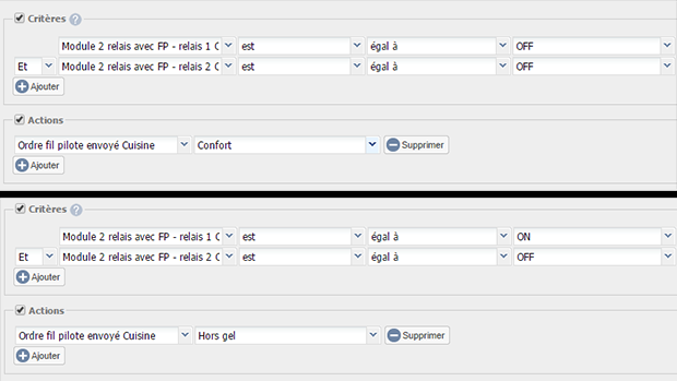 Exemple de scénarios pour avoir un retour d'état fil pilote