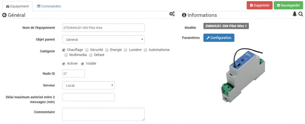 Jeedom : inclusion du module fil pilote rail DIN