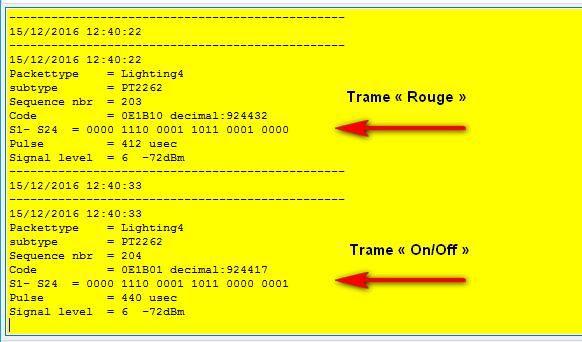 Codes Lightning 4 reçus sur le RFXCom