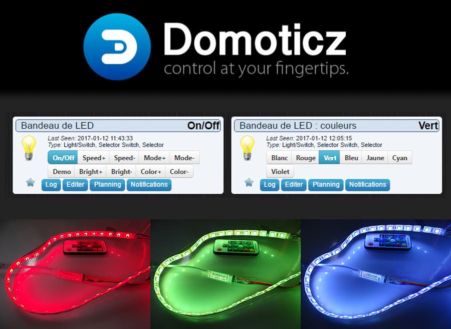 Pilotage du contrôleur LED RGB 433 MHz avec Domoticz et un RFXCOM