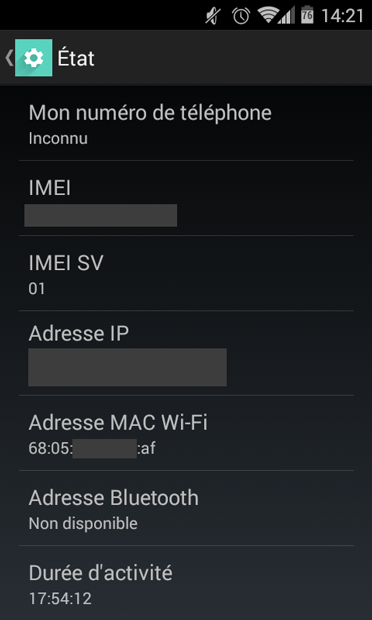Android : trouver l'adresse MAC WiFi