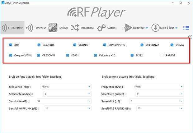 Protocoles reçus avec l'utilitaire du RFPlayer
