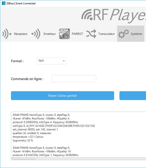 RFPlayer : Trames de réception dans systèmes