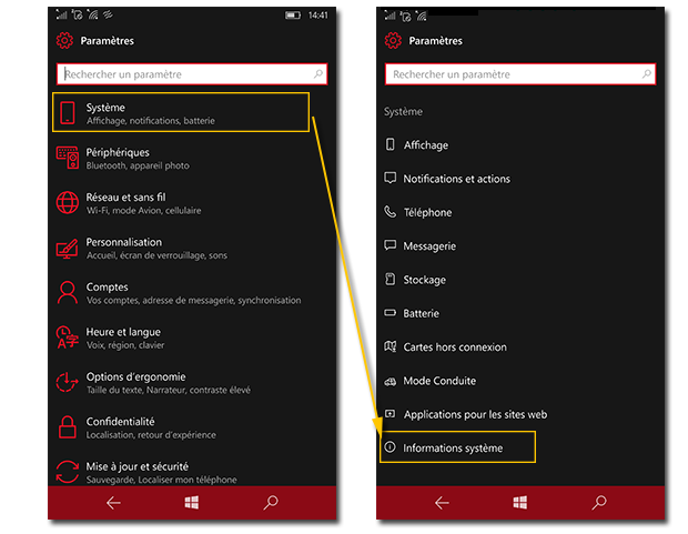 Windows Phone 10 - trouver les infos systemes