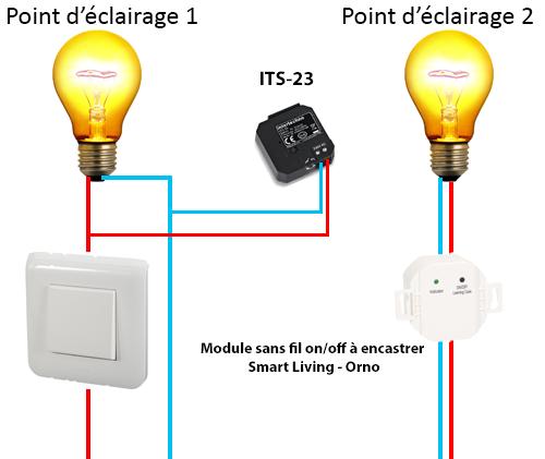 Un interrupteur pour gérer 2 points d'éclairage