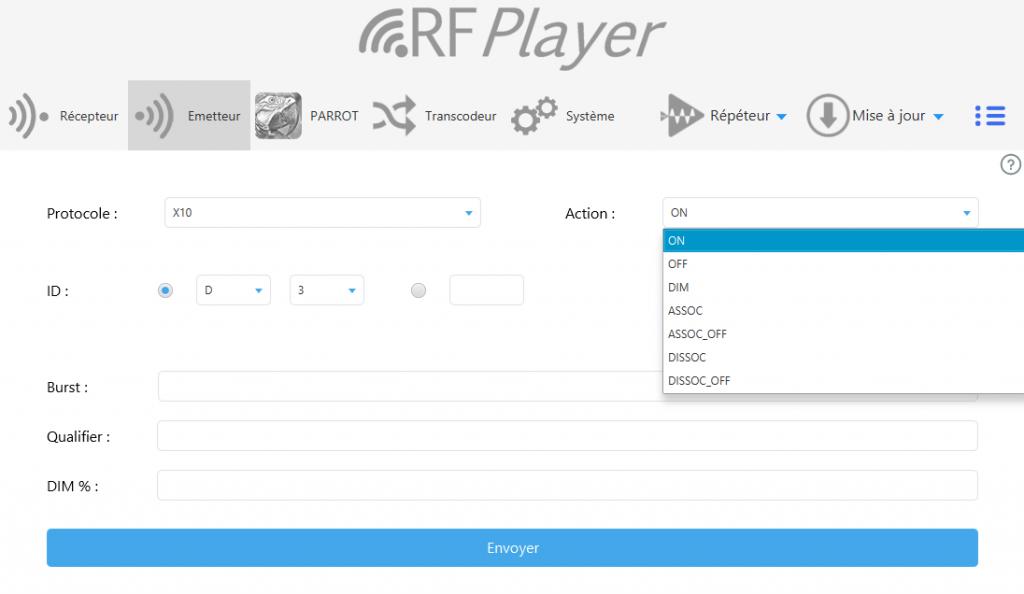 Utilitaire RFPlayer : fonction émetteur