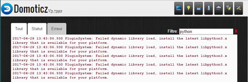 Domoticz : erreur de Python